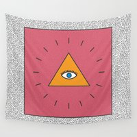 all seeing eye Wall Tapestries featuring All Seeing Eye by Work and Subtraction