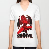 moulin rouge V-neck T-shirts featuring Diable Rouge by Chandelina