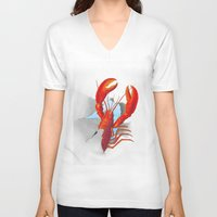 lobster V-neck T-shirts featuring Lobster!!!!!!!!!!! by Rococco-LA