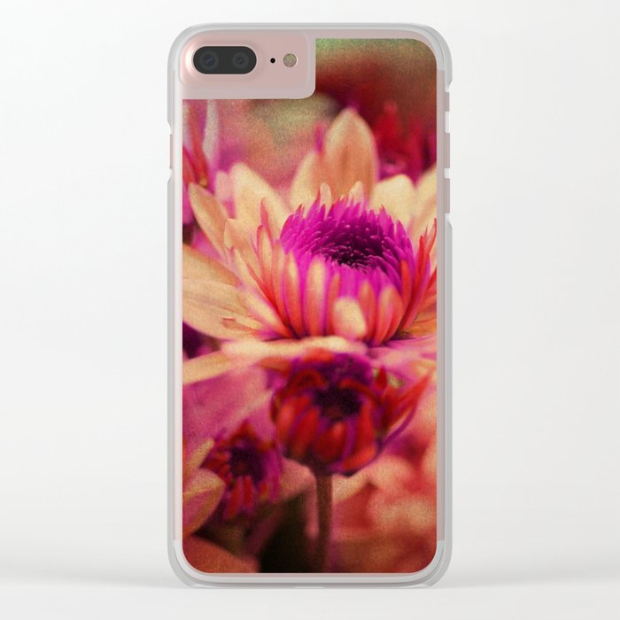 Vintage asters Clear iPhone Case