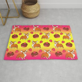 Cute happy playful funny puppy corgi dogs, sweet adorable yummy chocolate cake cartoon and red summer strawberries light sunny yellow raspberry pink design. Rug