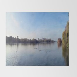 Panorama - Lake in Autumn Throw Blanket