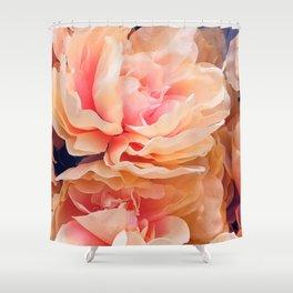 Cascade of Fluttering Peach Pink Roses Shower Curtain