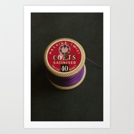 Purple Vintage Cotton Reel Art Print