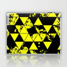 Splatter Triangles In Black And Yellow Laptop & iPad Skin