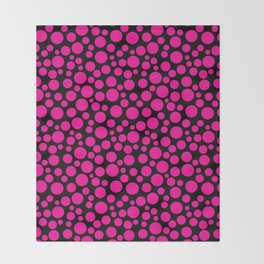 Black and pink polka dot pattern . Throw Blanket