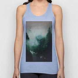 Morning dust on Mountains - Forest Wood Tree Unisex Tank Top