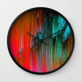 Nice Day for a Walk - Abstract Glitchy Pixel Art Wall Clock