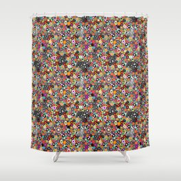 Sea Glass//Circles and Dots//Red Pink Yellow Black Teal Shower Curtain