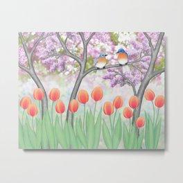 eastern bluebirds, tulips, & lilacs Metal Print