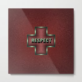 """Respect"" Typography in Maroon Celtic Cross Metal Print"