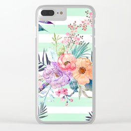 Watercolor Boho floral, tropical leaves, stripes hand paint Clear iPhone Case
