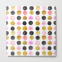 Pink and gold watercolor rounds  Metal Print