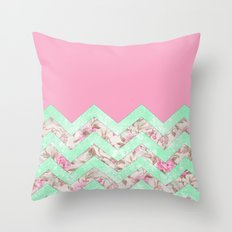 Girly Mint Green Pink Floral Block Chevron Pattern Throw Pillow