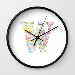 Letter W - Watercolor Monogram - Colorful Lettering - Watercolor Letter Print - Watercolor Initial Wall Clock