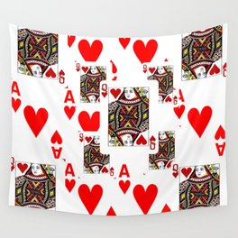 RED QUEEN OF HEARTS  & ACES PLAYING CARDS ARTWORK Wall Tapestry
