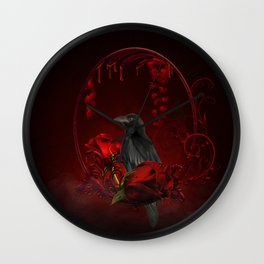 Wonderful crow with roses Wall Clock