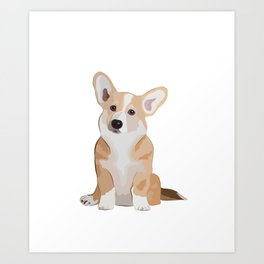 Corgi Waiting Art Print