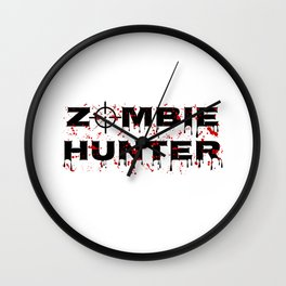 Zombie Hunter - Horror Infects Undead Blood Stain Wall Clock