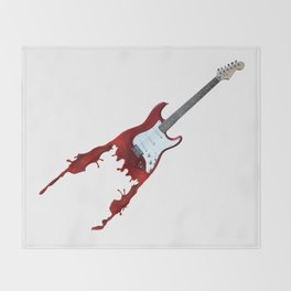 Electric guitar red music rock n roll sound beat band gift idea Throw Blanket
