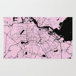Amsterdam Pink on Black Street Map Rug