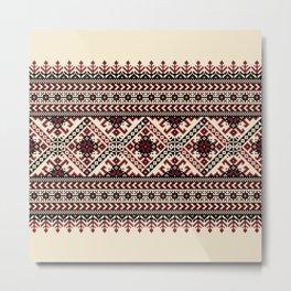Ivory Folk Pattern Metal Print