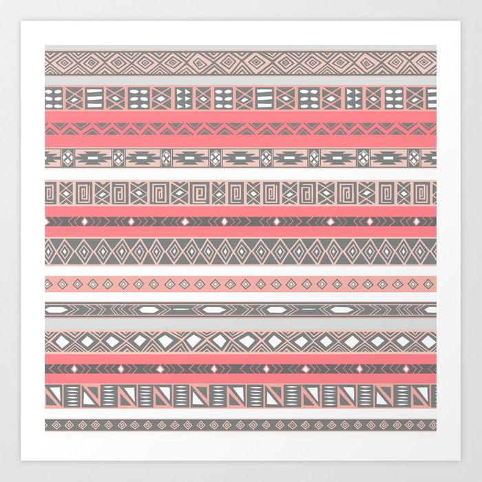 Aztec Print Peach Rose Salmon Grey Art