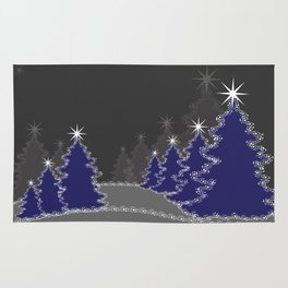 Christmas in blue and gray Rug