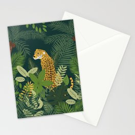 Jaguar in a Jungle on Green Stationery Cards