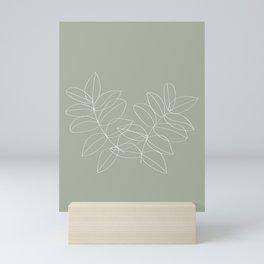 Boho Sage Green, Decor, Line Art, Botanical Leaves Mini Art Print
