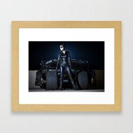 Catwoman and the Batmobile Tumbler Framed Art Print