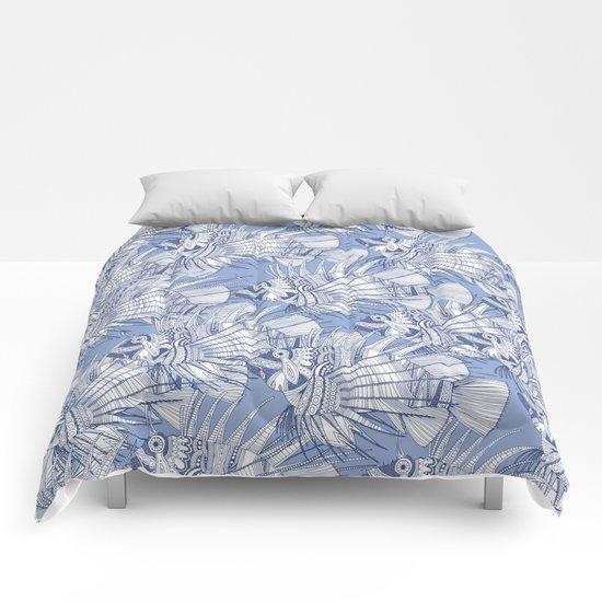 fish mirage blue Comforters