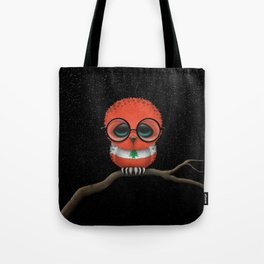 Baby Owl with Glasses and Lebanese Flag Tote Bag