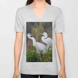 Egret Pair Unisex V-Neck
