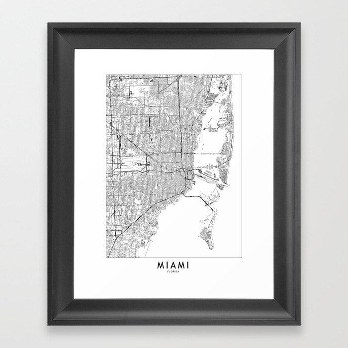Miami White Map Gerahmter Kunstdruck