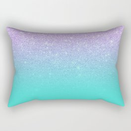 Modern mermaid lavender glitter turquoise ombre pattern Rectangular Pillow