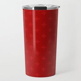 Chirstmas Hearts Snowflakes Pattern Red Travel Mug