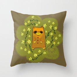 Little brown bear Throw Pillow