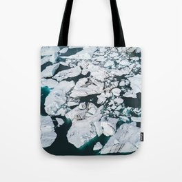 Icelandic glacier icebergs from above - Landscape Photography Tote Bag