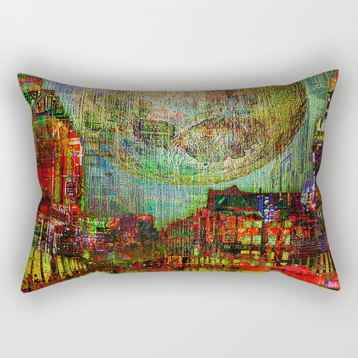 Moon on the city Rectangular Pillow