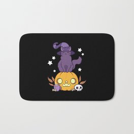 Pumpkin Cat // Black Bath Mat