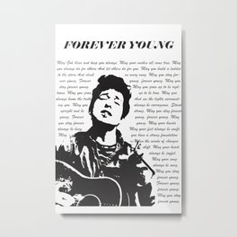 Bob Dylan Inspired Poster, Forever Young Lyrics, Vintage Minimalist Style, Wall Art, Music Poster, Print Metal Print
