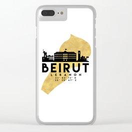 BEIRUT LEBANON SILHOUETTE SKYLINE MAP ART Clear iPhone Case
