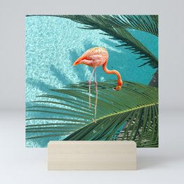 Abstract Flamingo and Palm leaf Mini Art Print