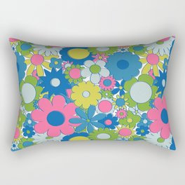 Funky Daisy Floral in Neon Rectangular Pillow