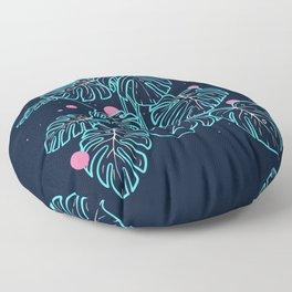 Monstera Deliciosa in the Night Floor Pillow