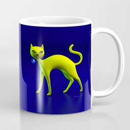 The Yellow Cat And Glass Blue Cherry Coffee Mug