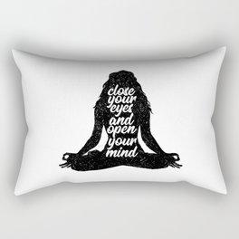 Close Your Eyes And Open Your Mind | Yoga Namaste Rectangular Pillow