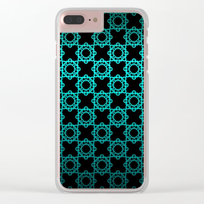 Retro. Black and turquoise satin ornament . Clear iPhone Case