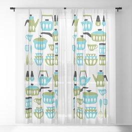 My Midcentury Modern Kitchen In Aqua And Avocado Sheer Curtain